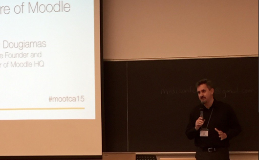 Robin Leung @robinleung Oct 21  And it begins... @moodler talks about the future of #Moodle. #mootca15