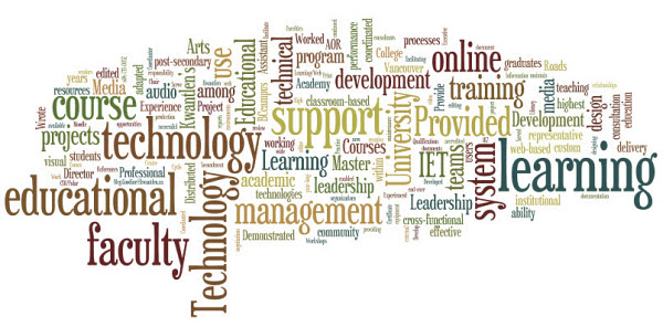 a word cloud representation of my resume